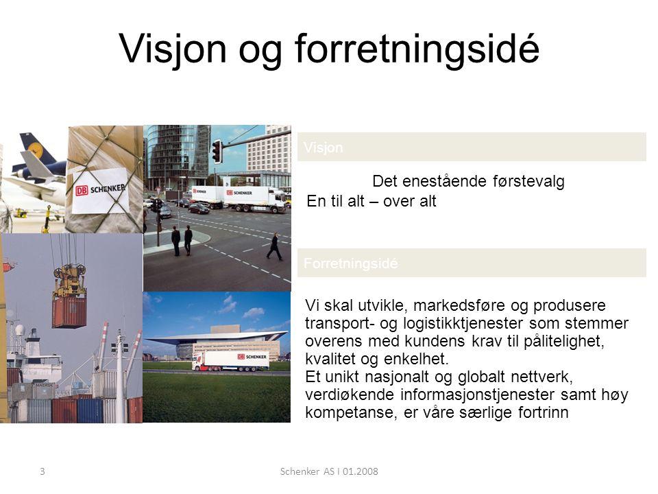 3Schenker AS I 01.2008 Visjon og forretningsidé Visjon Det enestående førstevalg En til alt – over alt Forretningsidé Vi skal utvikle, markedsføre og