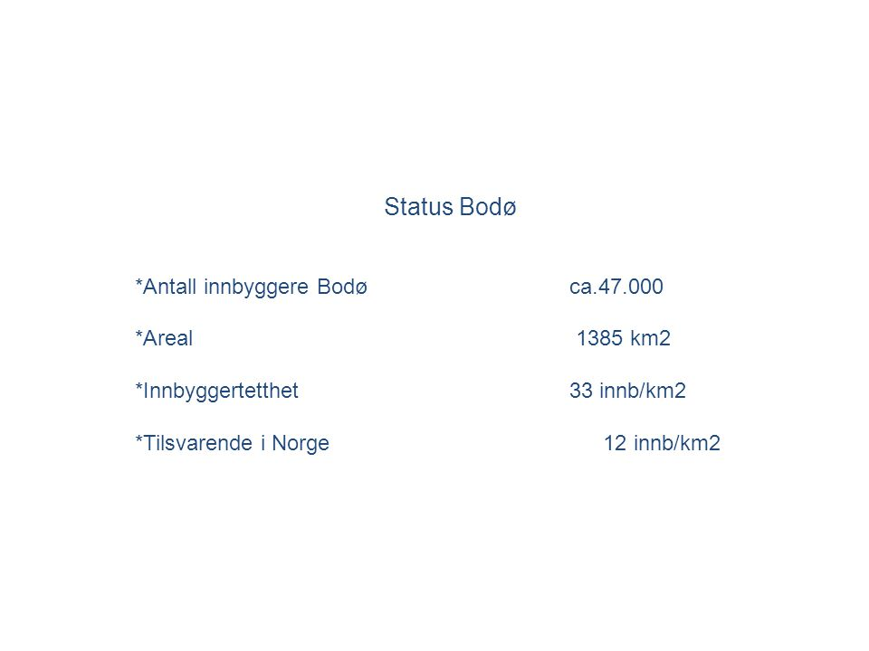 Status Bodø *Antall innbyggere Bodøca.47.000 *Areal 1385 km2 *Innbyggertetthet 33 innb/km2 *Tilsvarende i Norge 12 innb/km2