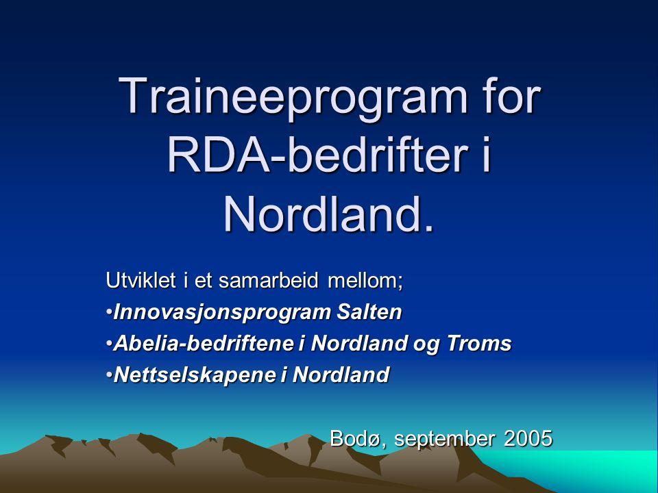 Traineeprogram for RDA-bedrifter i Nordland. Utviklet i et samarbeid mellom; Innovasjonsprogram SaltenInnovasjonsprogram Salten Abelia-bedriftene i No
