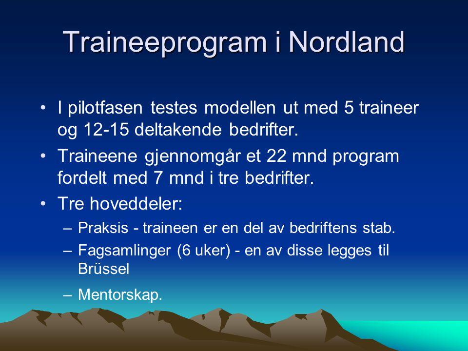 Traineeprogram i Nordland I pilotfasen testes modellen ut med 5 traineer og 12-15 deltakende bedrifter. Traineene gjennomgår et 22 mnd program fordelt