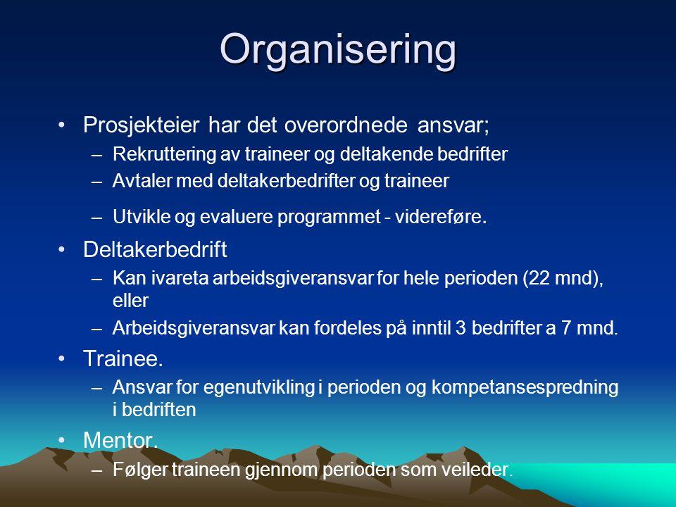 Organisering Prosjekteier har det overordnede ansvar; –Rekruttering av traineer og deltakende bedrifter –Avtaler med deltakerbedrifter og traineer –Ut