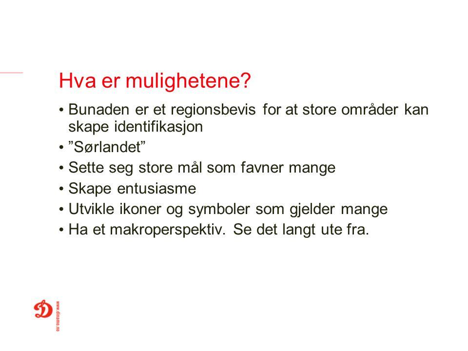 """Hva er mulighetene? Bunaden er et regionsbevis for at store områder kan skape identifikasjon """"Sørlandet"""" Sette seg store mål som favner mange Skape en"""