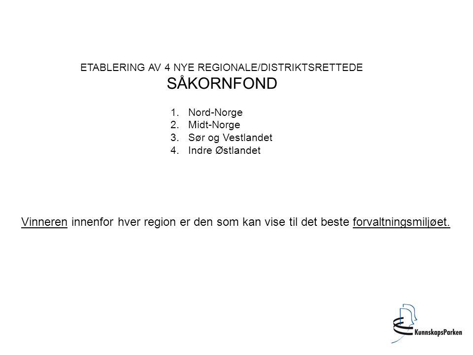 ETABLERING AV 4 NYE REGIONALE/DISTRIKTSRETTEDE SÅKORNFOND 1.Nord-Norge 2.Midt-Norge 3.Sør og Vestlandet 4.Indre Østlandet Vinneren innenfor hver regio