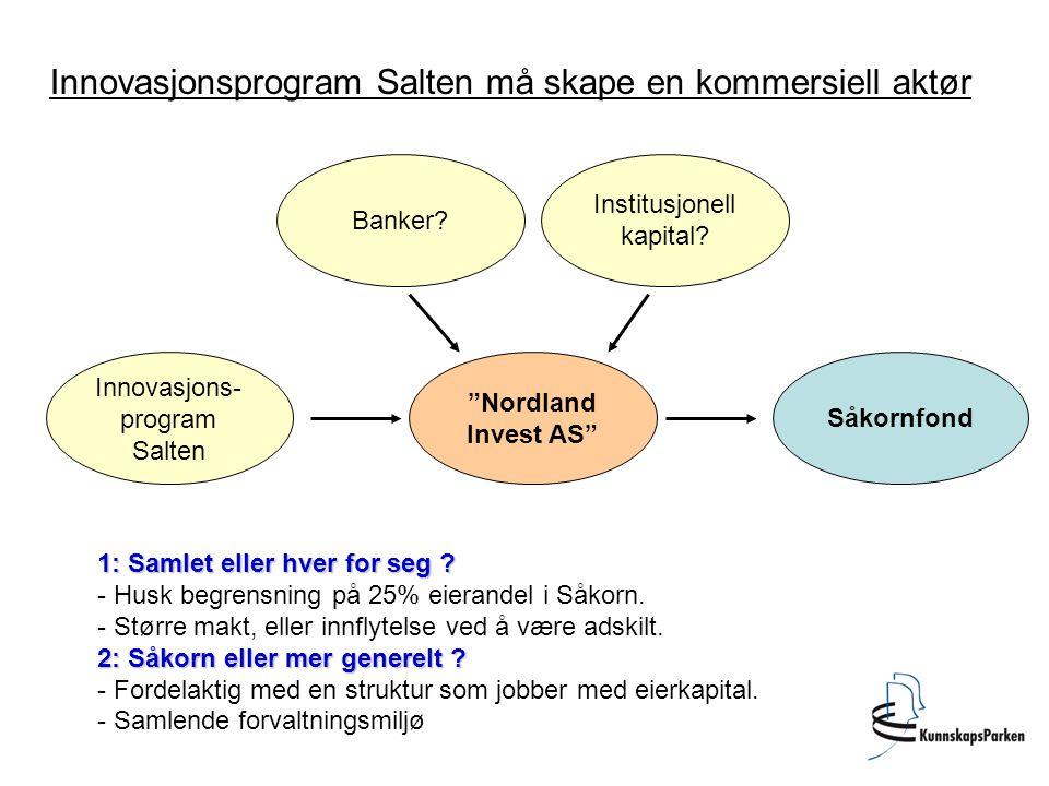 """Innovasjons- program Salten """"Nordland Invest AS"""" Såkornfond Innovasjonsprogram Salten må skape en kommersiell aktør Banker? Institusjonell kapital? 1:"""