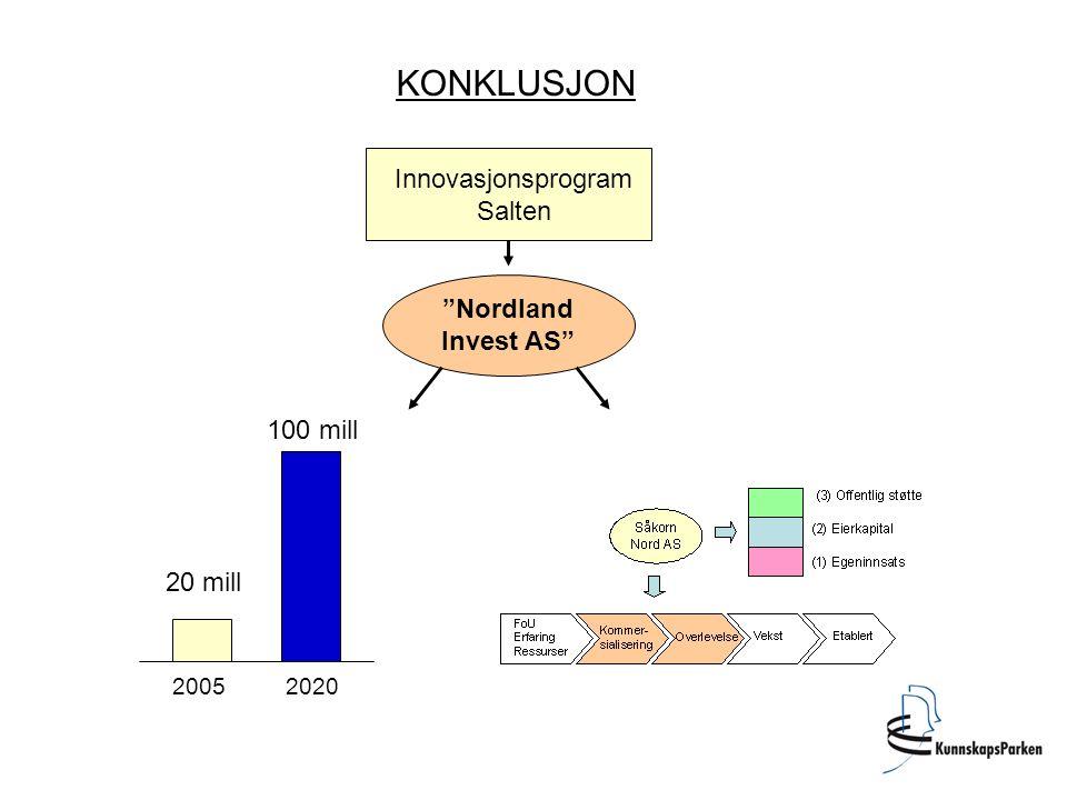 """KONKLUSJON Innovasjonsprogram Salten """"Nordland Invest AS"""" 20 mill 100 mill 20052020"""