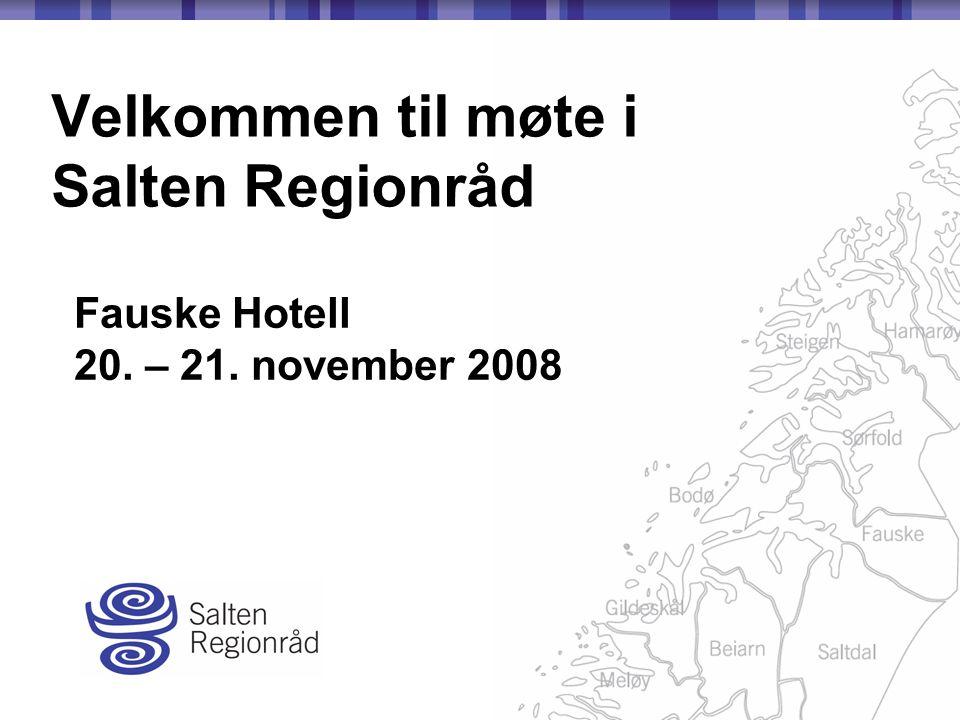 Velkommen til møte i Salten Regionråd Fauske Hotell 20. – 21. november 2008