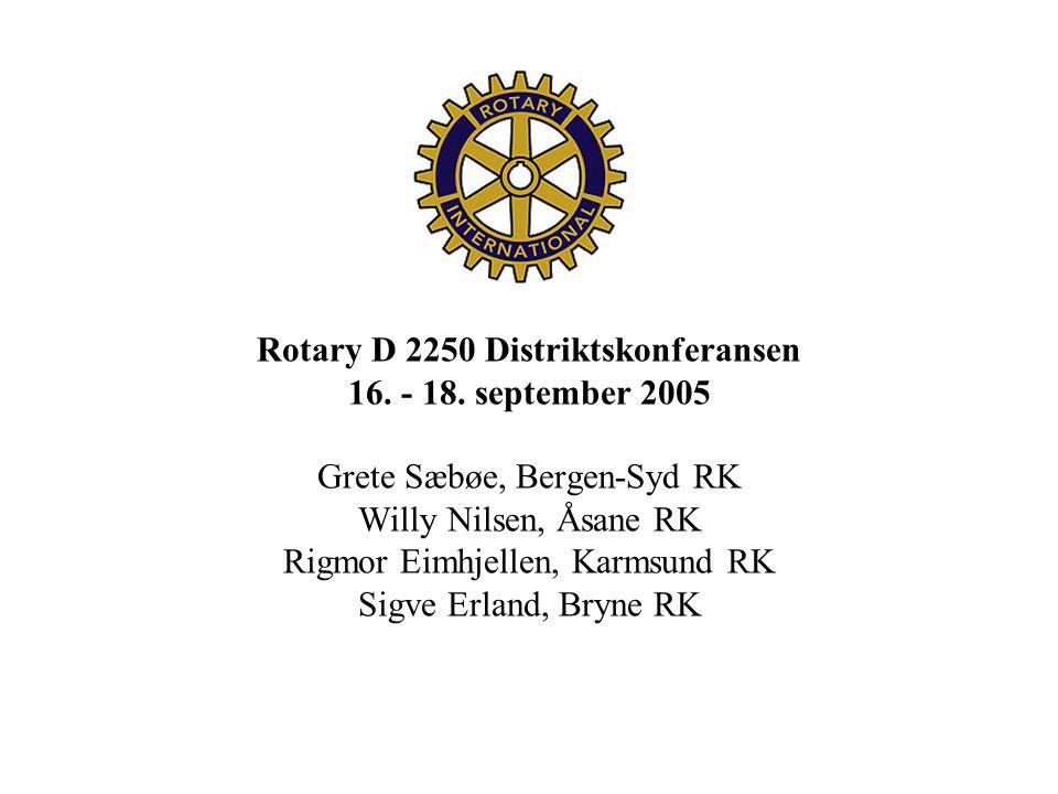 Rotary D 2250 Distriktskonferansen 16. - 18. september 2005 Grete Sæbøe, Bergen-Syd RK Willy Nilsen, Åsane RK Rigmor Eimhjellen, Karmsund RK Sigve Erl
