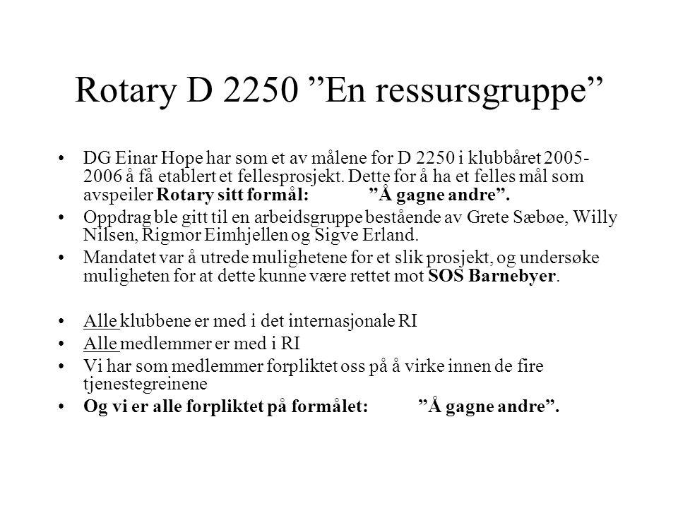 """Rotary D 2250 """"En ressursgruppe"""" DG Einar Hope har som et av målene for D 2250 i klubbåret 2005- 2006 å få etablert et fellesprosjekt. Dette for å ha"""