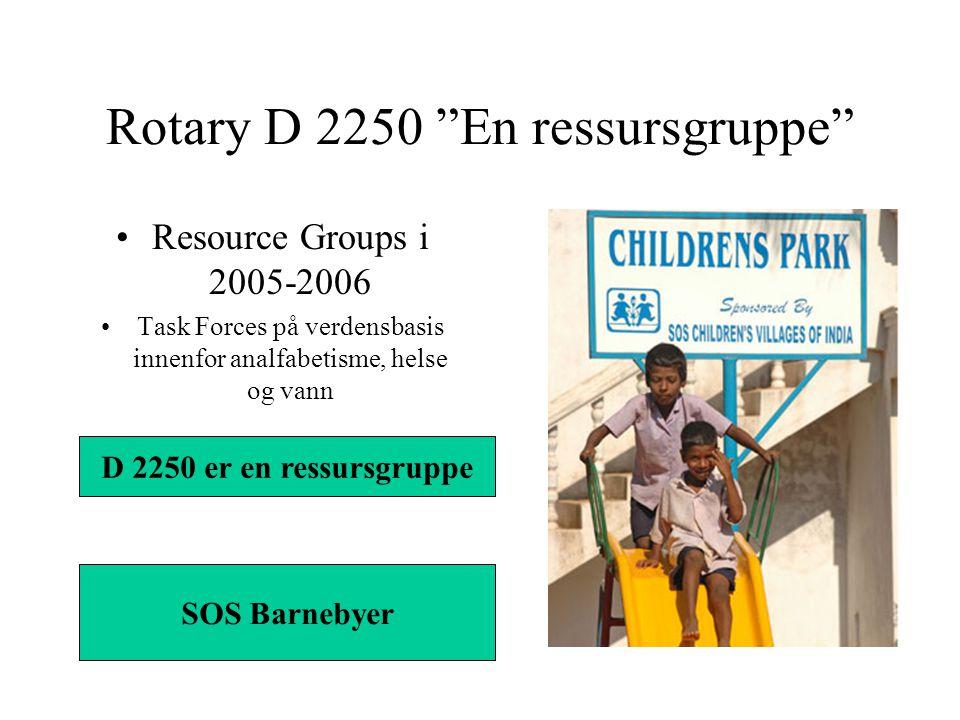 Rotary D 2250 En ressursgruppe Resource Groups i 2005-2006 Task Forces på verdensbasis innenfor analfabetisme, helse og vann D 2250 er en ressursgruppe SOS Barnebyer