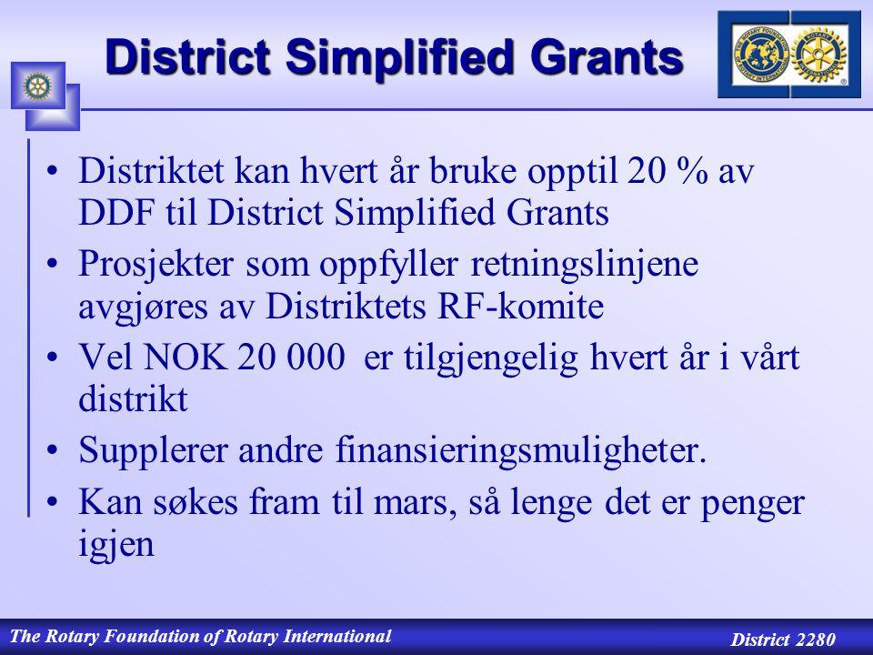 The Rotary Foundation of Rotary International District 2280 District Simplified Grants Distriktet kan hvert år bruke opptil 20 % av DDF til District Simplified Grants Prosjekter som oppfyller retningslinjene avgjøres av Distriktets RF-komite Vel NOK 20 000 er tilgjengelig hvert år i vårt distrikt Supplerer andre finansieringsmuligheter.