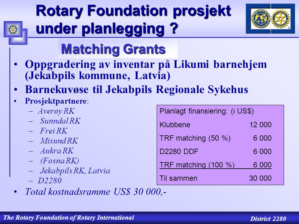 The Rotary Foundation of Rotary International District 2280 Rotary Foundation prosjekt under planlegging .