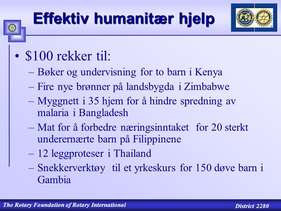 The Rotary Foundation of Rotary International District 2280 MATCHING GRANTS TRF MATCHER: 1 : 1 BIDRAG FRA DDF (Dobler beløpet) 0,5 : 1 BIDRAG FRA KLUBBER (TRF gir: 50 øre pr.krone) A.Matching Grants 5.000 – 25.000 $ Søknadsfrist: 1.juli – 31.