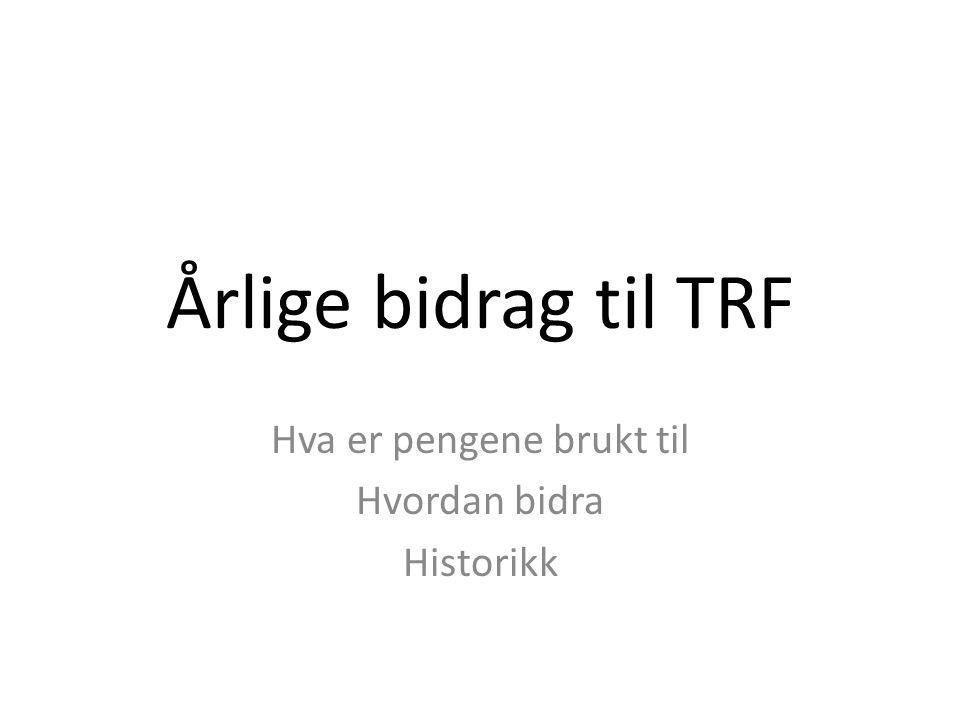 Årlige bidrag til TRF Hva er pengene brukt til Hvordan bidra Historikk