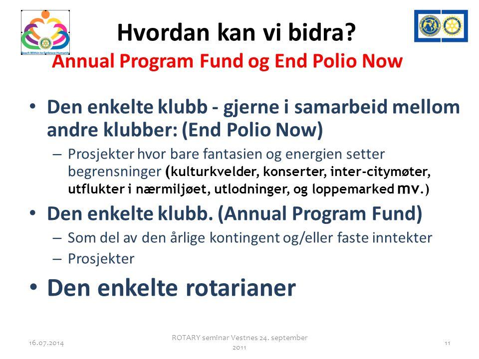 Hvordan kan vi bidra? Annual Program Fund og End Polio Now Den enkelte klubb - gjerne i samarbeid mellom andre klubber: (End Polio Now) – Prosjekter h