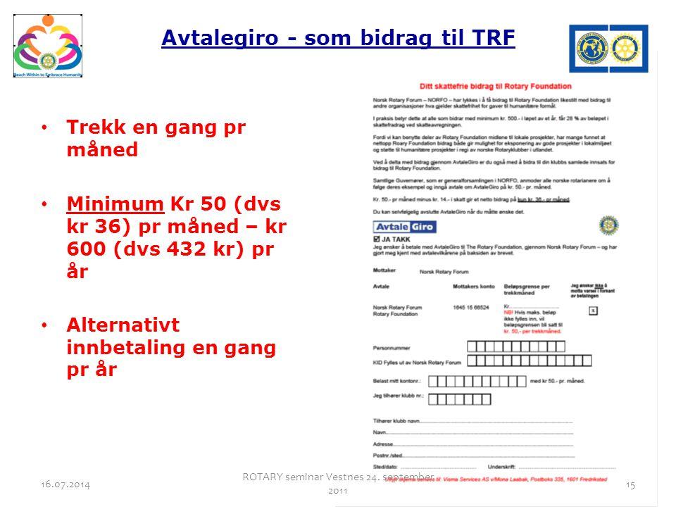 Avtalegiro - som bidrag til TRF Trekk en gang pr måned Minimum Kr 50 (dvs kr 36) pr måned – kr 600 (dvs 432 kr) pr år Alternativt innbetaling en gang pr år 16.07.2014 ROTARY seminar Vestnes 24.