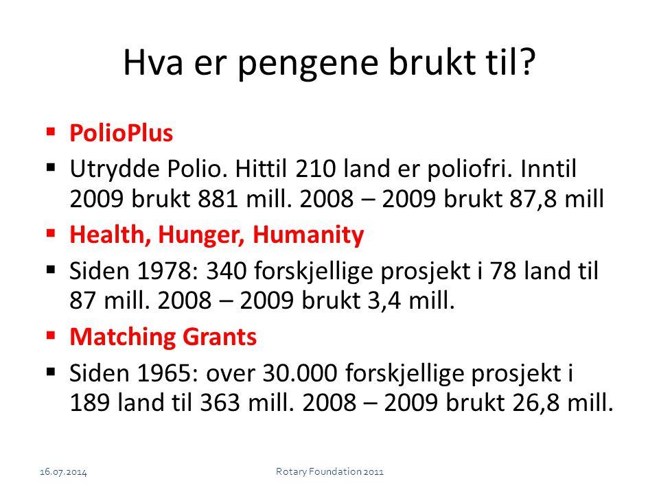 Hva er pengene brukt til?  PolioPlus  Utrydde Polio. Hittil 210 land er poliofri. Inntil 2009 brukt 881 mill. 2008 – 2009 brukt 87,8 mill  Health,
