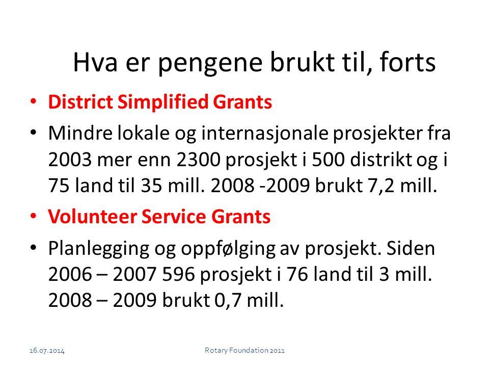 Hva er pengene brukt til, forts District Simplified Grants Mindre lokale og internasjonale prosjekter fra 2003 mer enn 2300 prosjekt i 500 distrikt og i 75 land til 35 mill.