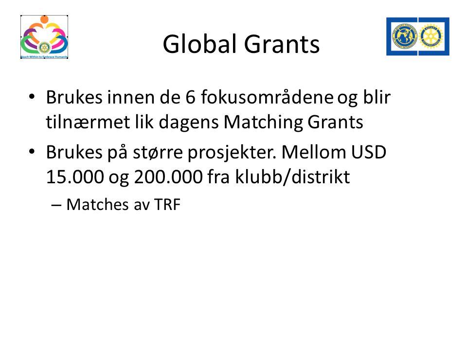 Global Grants Brukes innen de 6 fokusområdene og blir tilnærmet lik dagens Matching Grants Brukes på større prosjekter.