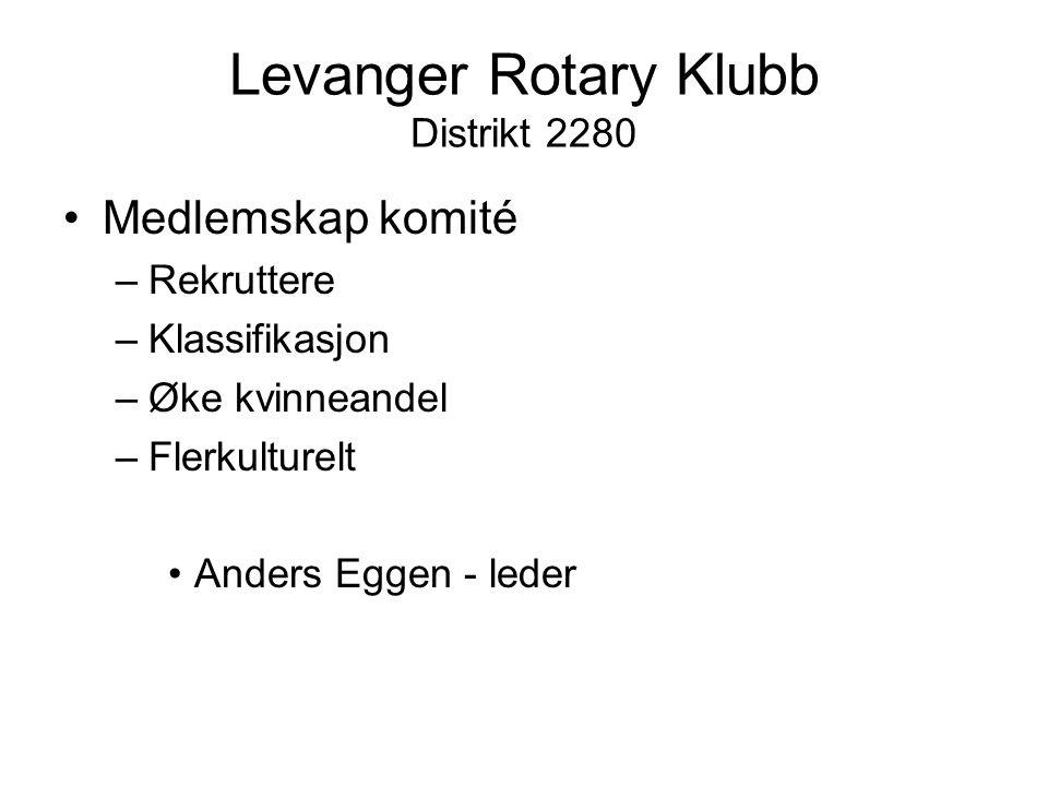 Levanger Rotary Klubb Distrikt 2280 Medlemskap komité –Rekruttere –Klassifikasjon –Øke kvinneandel –Flerkulturelt Anders Eggen - leder