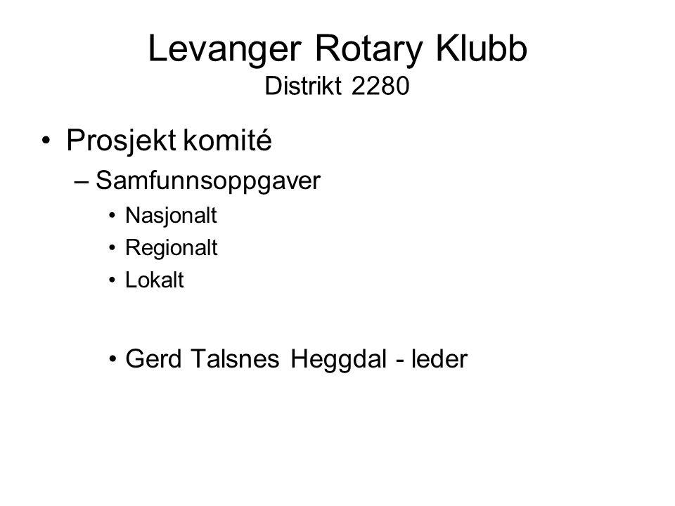 Levanger Rotary Klubb Distrikt 2280 Prosjekt komité –Samfunnsoppgaver Nasjonalt Regionalt Lokalt Gerd Talsnes Heggdal - leder
