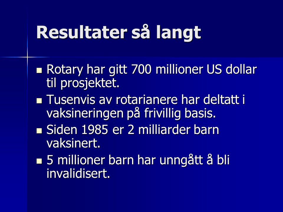 Resultater så langt Rotary har gitt 700 millioner US dollar til prosjektet.