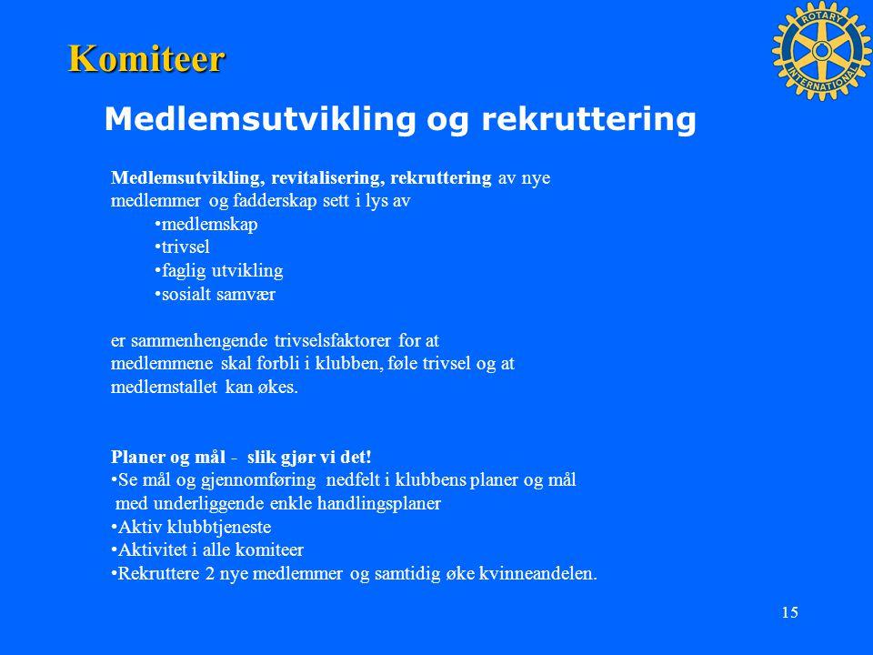 15 Komiteer Medlemsutvikling og rekruttering Medlemsutvikling, revitalisering, rekruttering av nye medlemmer og fadderskap sett i lys av medlemskap tr
