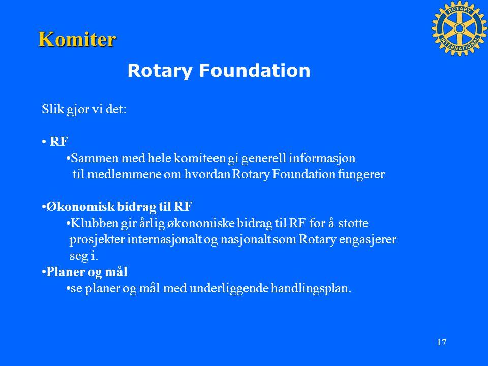 17 Komiter Rotary Foundation Slik gjør vi det: RF Sammen med hele komiteen gi generell informasjon til medlemmene om hvordan Rotary Foundation fungere