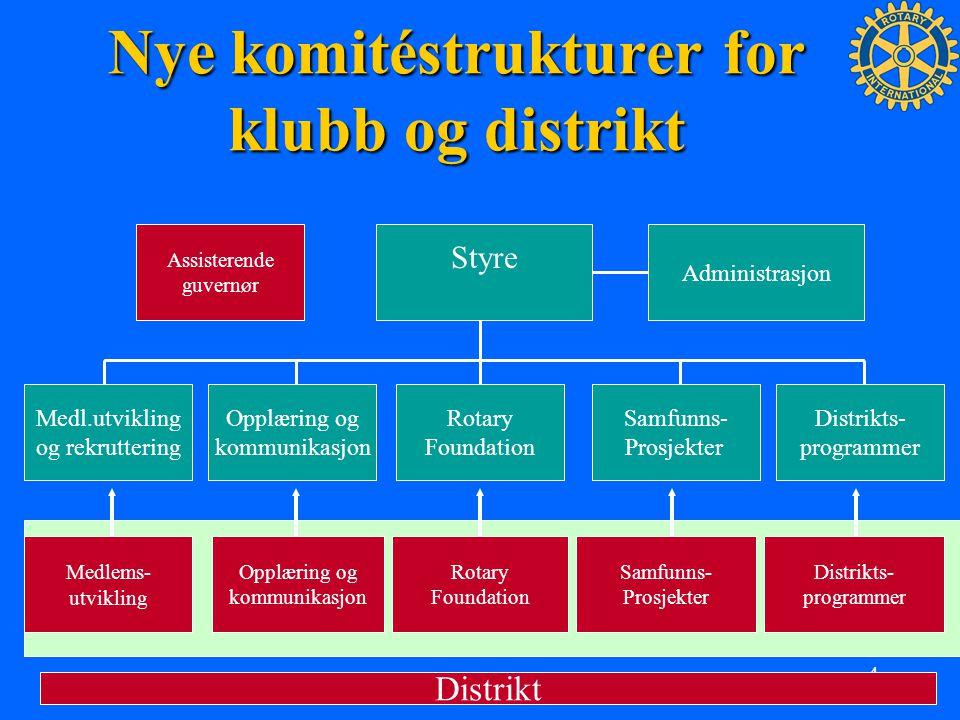 4 Nye komitéstrukturer for klubb og distrikt Styre Medl.utvikling og rekruttering Opplæring og kommunikasjon Rotary Foundation Samfunns- Prosjekter Di