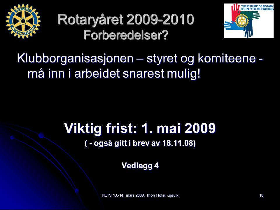 PETS 13.-14. mars 2009, Thon Hotel, Gjøvik18 Rotaryåret 2009-2010 Forberedelser.