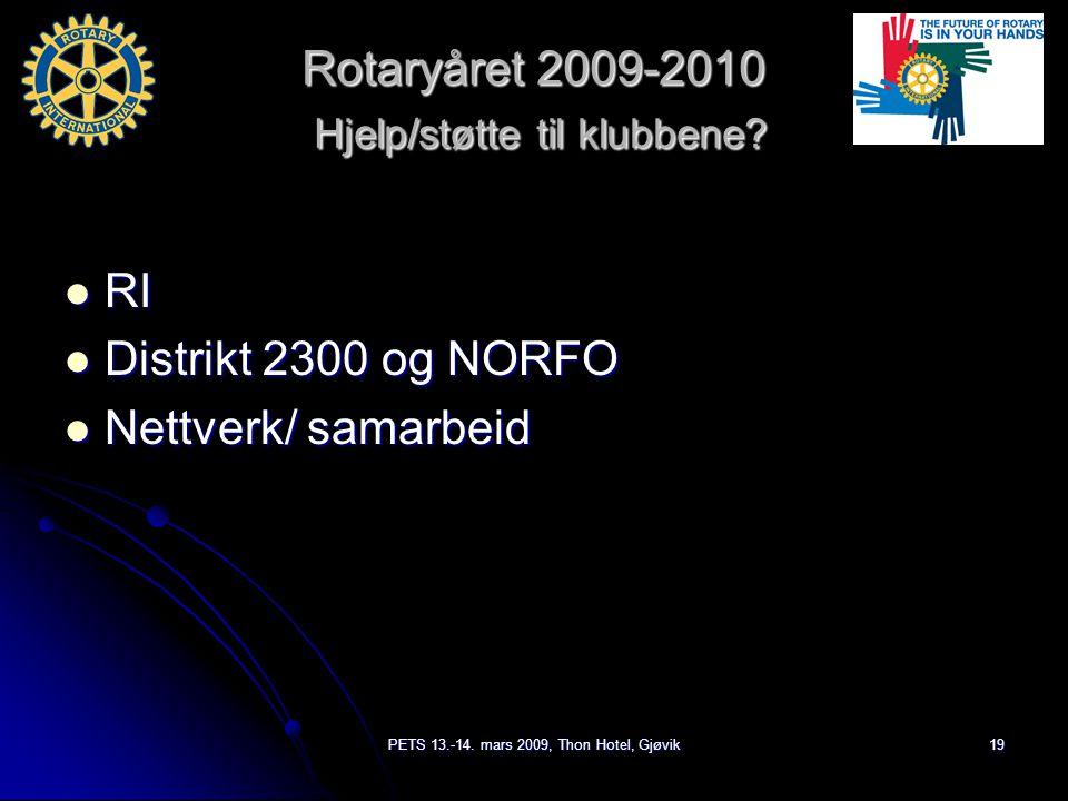 PETS 13.-14. mars 2009, Thon Hotel, Gjøvik19 Rotaryåret 2009-2010 Hjelp/støtte til klubbene.