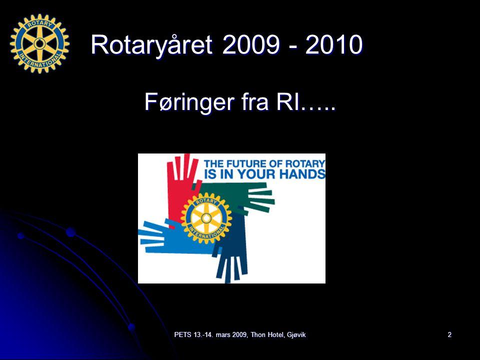 PETS 13.-14. mars 2009, Thon Hotel, Gjøvik2 Rotaryåret 2009 - 2010 Føringer fra RI…..