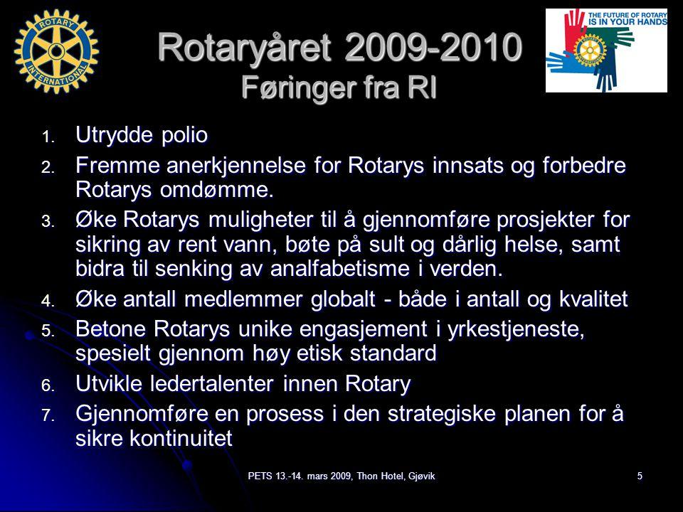 PETS 13.-14. mars 2009, Thon Hotel, Gjøvik5 Rotaryåret 2009-2010 Føringer fra RI 1.