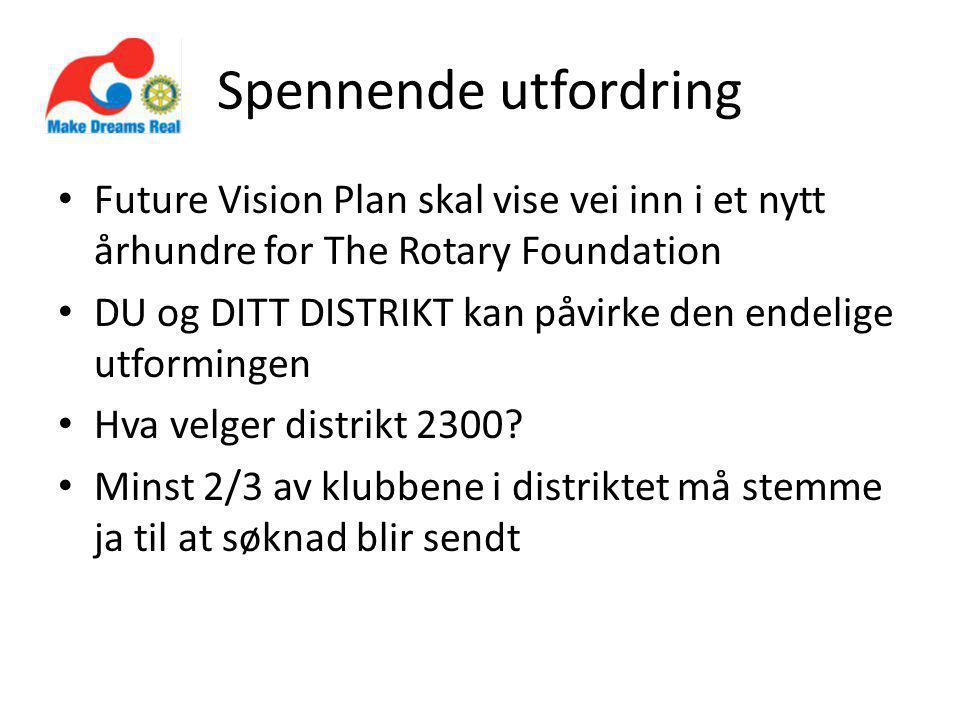 Spennende utfordring Future Vision Plan skal vise vei inn i et nytt århundre for The Rotary Foundation DU og DITT DISTRIKT kan påvirke den endelige utformingen Hva velger distrikt 2300.