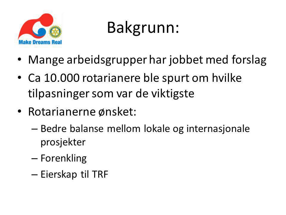 Bakgrunn: Mange arbeidsgrupper har jobbet med forslag Ca 10.000 rotarianere ble spurt om hvilke tilpasninger som var de viktigste Rotarianerne ønsket: – Bedre balanse mellom lokale og internasjonale prosjekter – Forenkling – Eierskap til TRF