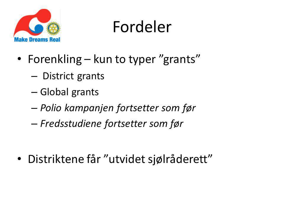 Fordeler Forenkling – kun to typer grants – District grants – Global grants – Polio kampanjen fortsetter som før – Fredsstudiene fortsetter som før Distriktene får utvidet sjølråderett