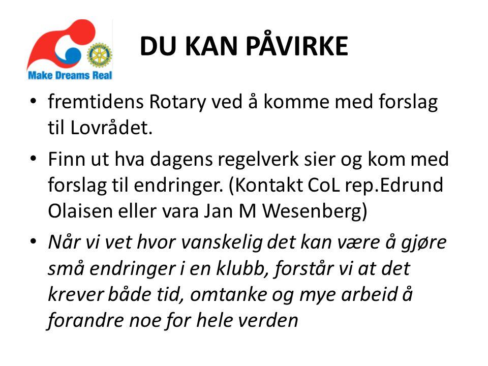 DU KAN PÅVIRKE fremtidens Rotary ved å komme med forslag til Lovrådet.