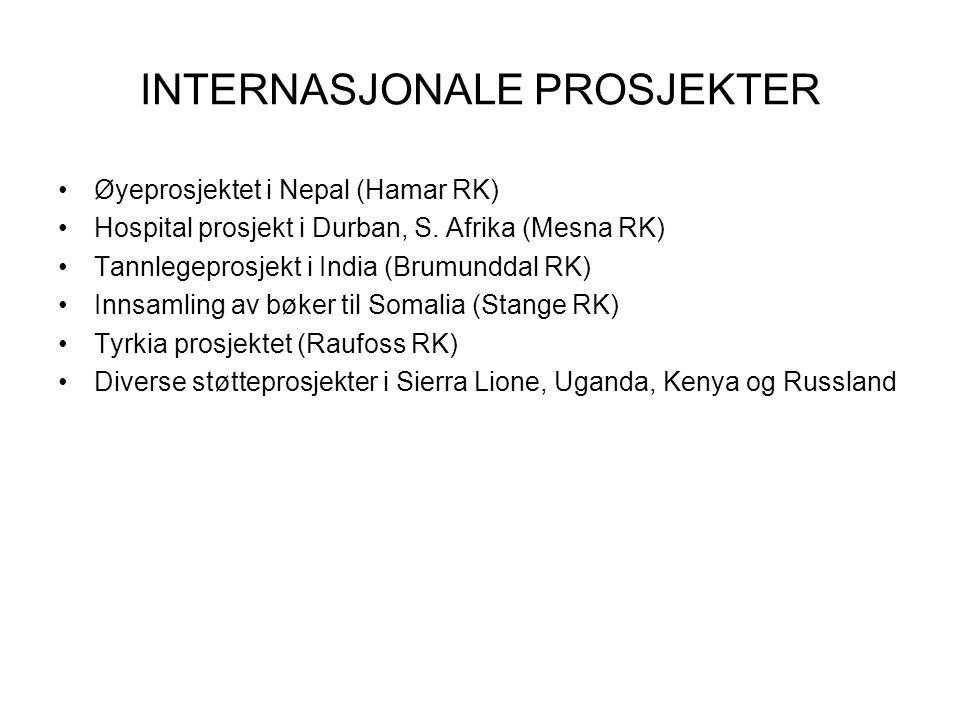 INTERNASJONALE PROSJEKTER Øyeprosjektet i Nepal (Hamar RK) Hospital prosjekt i Durban, S. Afrika (Mesna RK) Tannlegeprosjekt i India (Brumunddal RK) I