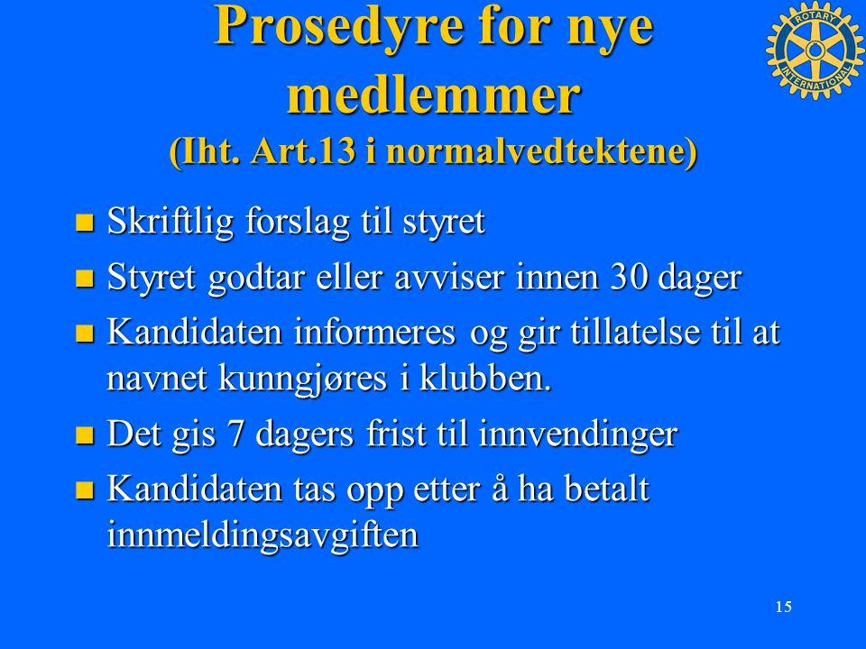 15 Prosedyre for nye medlemmer (Iht. Art.13 i normalvedtektene) Skriftlig forslag til styret Skriftlig forslag til styret Styret godtar eller avviser