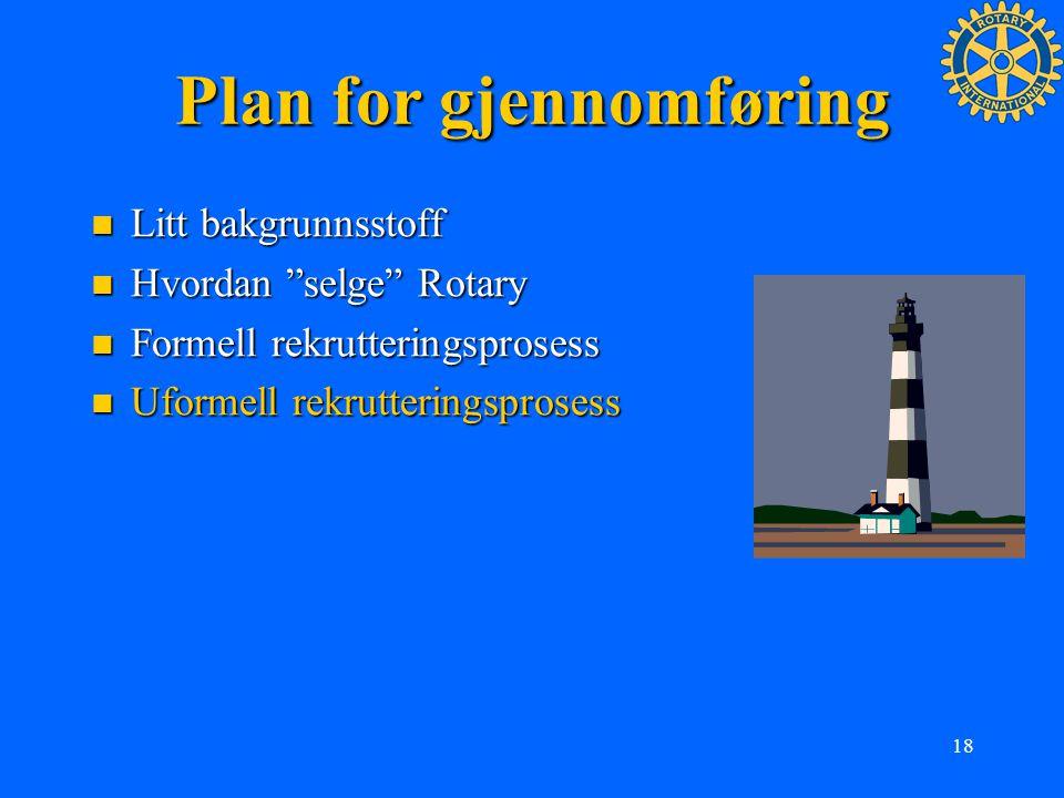 """18 Plan for gjennomføring Litt bakgrunnsstoff Litt bakgrunnsstoff Hvordan """"selge"""" Rotary Hvordan """"selge"""" Rotary Formell rekrutteringsprosess Formell r"""