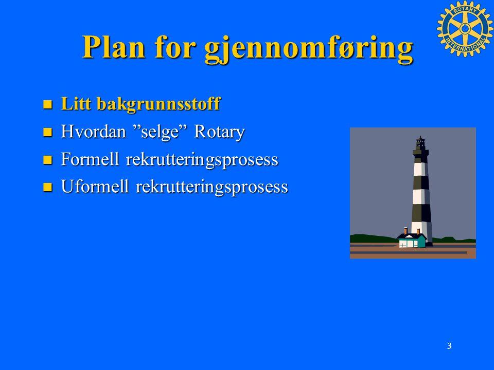 """3 Plan for gjennomføring Litt bakgrunnsstoff Litt bakgrunnsstoff Hvordan """"selge"""" Rotary Hvordan """"selge"""" Rotary Formell rekrutteringsprosess Formell re"""