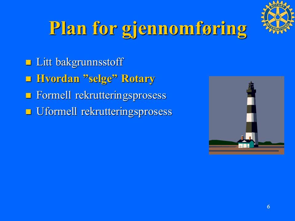 """6 Plan for gjennomføring Litt bakgrunnsstoff Litt bakgrunnsstoff Hvordan """"selge"""" Rotary Hvordan """"selge"""" Rotary Formell rekrutteringsprosess Formell re"""