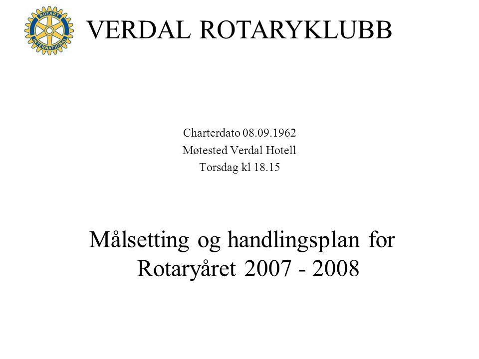 VERDAL ROTARYKLUBB Charterdato 08.09.1962 Møtested Verdal Hotell Torsdag kl 18.15 Målsetting og handlingsplan for Rotaryåret 2007 - 2008