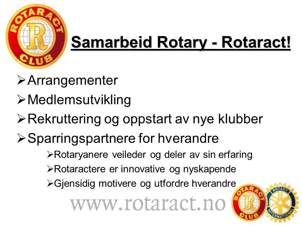Samarbeid Rotary - Rotaract!  Arrangementer  Medlemsutvikling  Rekruttering og oppstart av nye klubber  Sparringspartnere for hverandre  Rotaryan