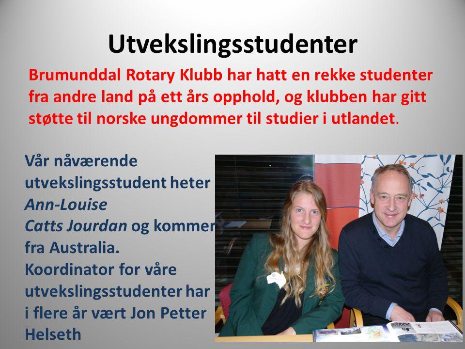 Utvekslingsstudenter Brumunddal Rotary Klubb har hatt en rekke studenter fra andre land på ett års opphold, og klubben har gitt støtte til norske ungd