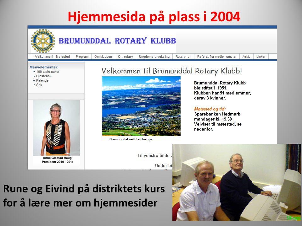 Rune og Eivind på distriktets kurs for å lære mer om hjemmesider Hjemmesida på plass i 2004