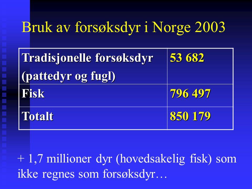 Bruk av forsøksdyr i Norge 2003 Tradisjonelle forsøksdyr (pattedyr og fugl) 53 682 Fisk 796 497 Totalt 850 179 + 1,7 millioner dyr (hovedsakelig fisk)