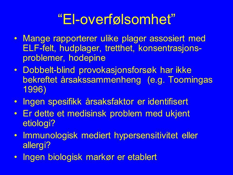 El-overfølsomhet Mange rapporterer ulike plager assosiert med ELF-felt, hudplager, tretthet, konsentrasjons- problemer, hodepine Dobbelt-blind provokasjonsforsøk har ikke bekreftet årsakssammenheng (e.g.