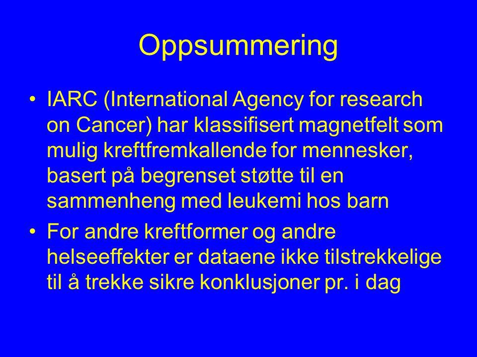 Oppsummering IARC (International Agency for research on Cancer) har klassifisert magnetfelt som mulig kreftfremkallende for mennesker, basert på begrenset støtte til en sammenheng med leukemi hos barn For andre kreftformer og andre helseeffekter er dataene ikke tilstrekkelige til å trekke sikre konklusjoner pr.