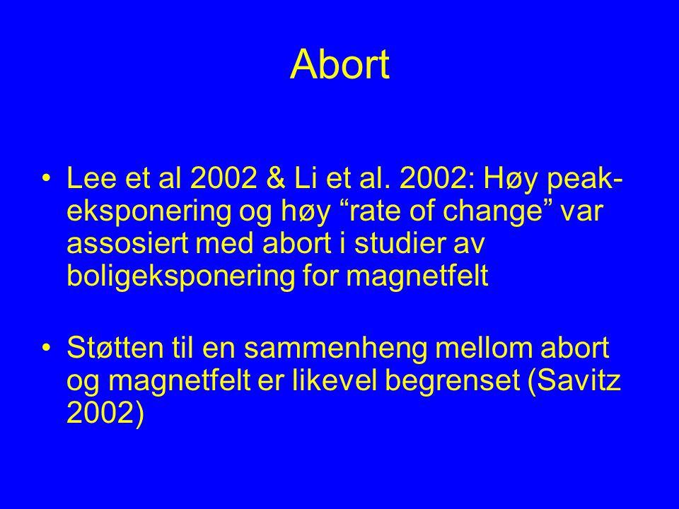 """Abort Lee et al 2002 & Li et al. 2002: Høy peak- eksponering og høy """"rate of change"""" var assosiert med abort i studier av boligeksponering for magnetf"""