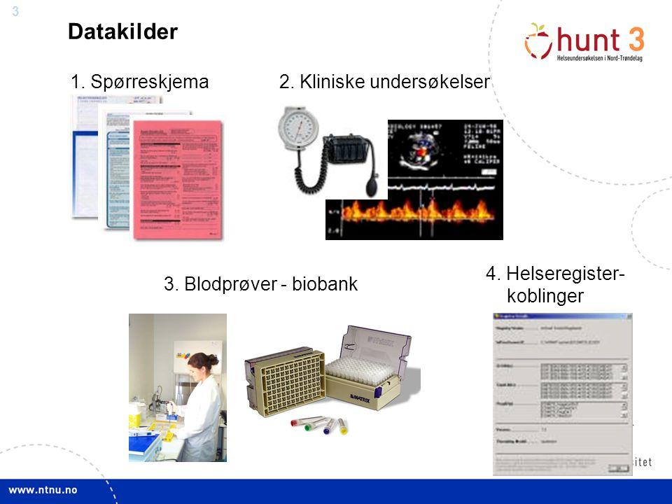 4 Kliniske undersøkelser - Intervju - Høyde - Vekt - Liv/hofte - BT, puls - Blodprøve Fase 1 Alle Utvalg - Lungefunksjon - Beinmasse - Ultralyd lever (fett) - Ultralyd hjerte - Kondisjonstest Fase 2, nytt oppmøte Utvalg Lunger Allergi Hud Nevro Søvn Muskel- skjelettplager Hjerne MRI (normal-materiale) Diabetes Cøliaki Fekal inkontinens Kognitiv svikt og demens Kroniske smerter Tannhelse - Protein i urin